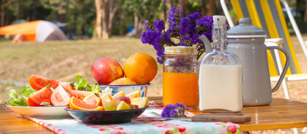 Brunch is one of the more romantic camping meals and is super simple to set up.