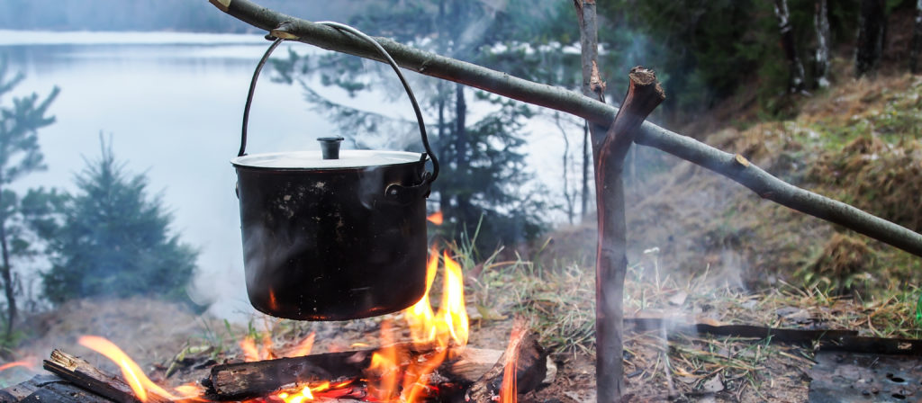 Cook a romantic dinner over the fire or on a campsite grill.