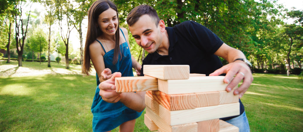Jenga is portable and fun. You can even find jumbo-sized Jenga products!