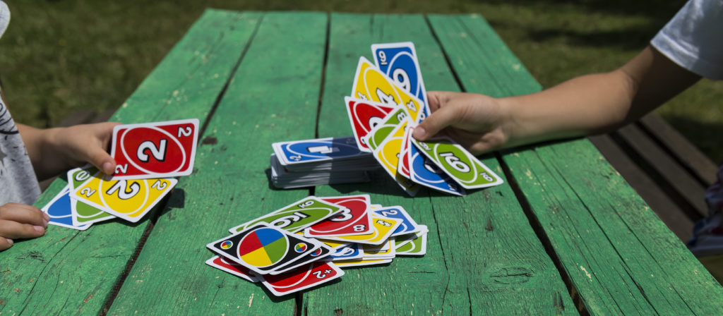 Uno is one of the many fun camping games for families.