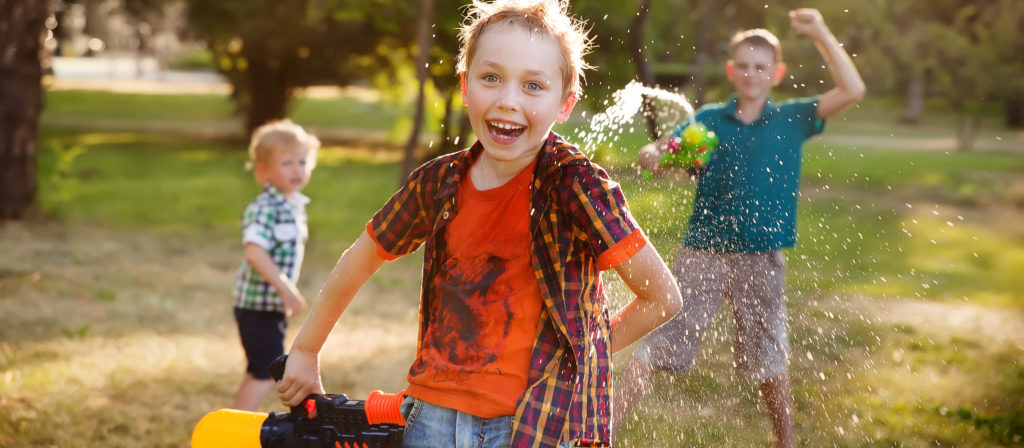 Squirt guns offer endless hours of fun for little kids.
