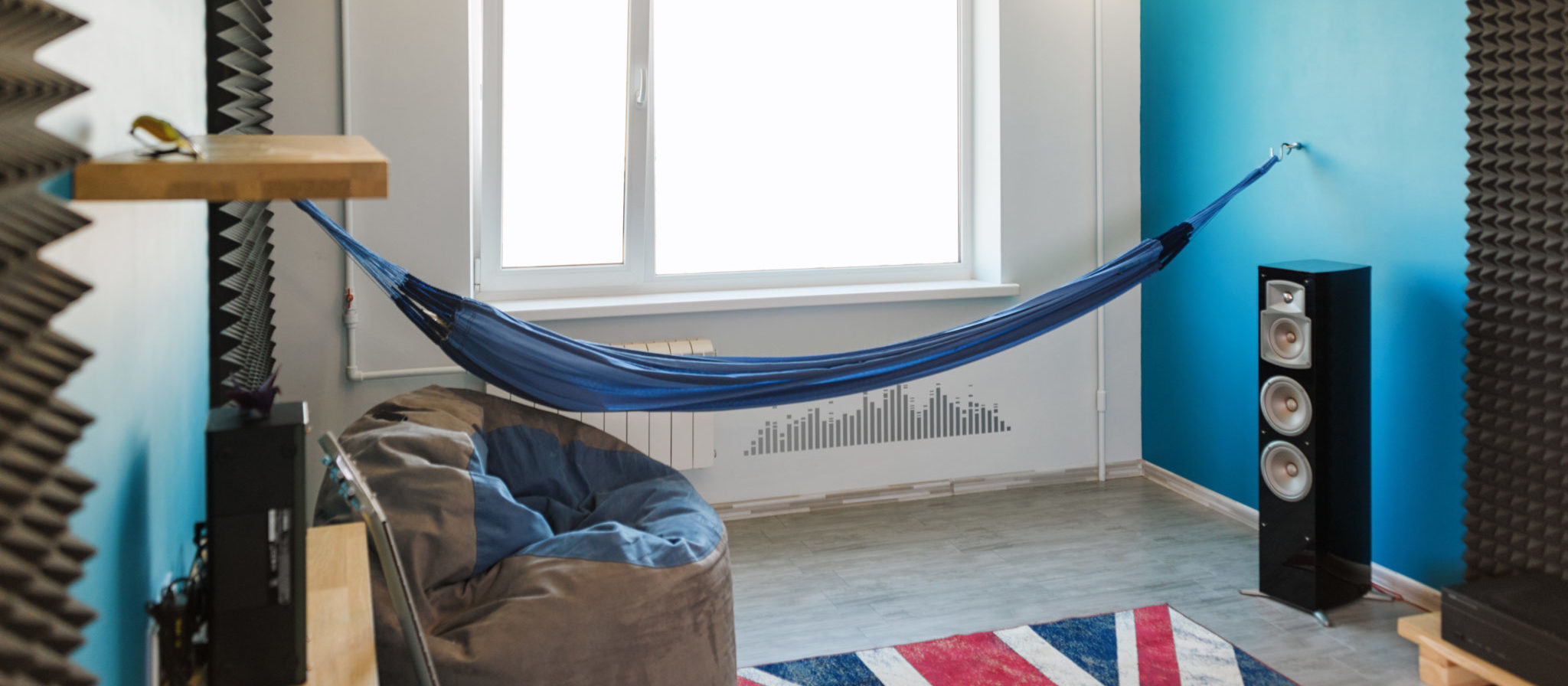 The use of a hammock in your home can free up space in your bedroom, or even